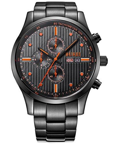 BUREI Herren Armbanduhr Chronograph Tages und Datumsanzeige Edelstahlband
