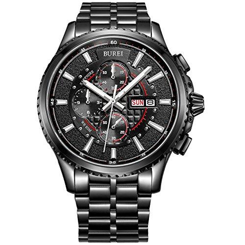 BUREI Herren Armbanduhr Chronograph Analog Quarz Edelstahl Sport Schwarz Armbanduhr Wasserdicht Uhr feuerfest kratzfest Uhr