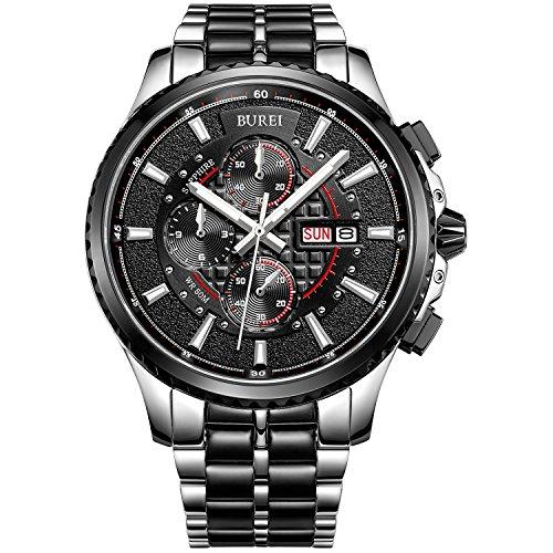 BUREI Chronograph Analog Quarz Edelstahl Schwarz Armbanduhr Wasserdicht Uhr