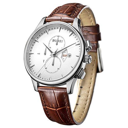 BUREI Herren Armbanduhr Chronograph Edelstahlgehaeuse Lederband braun