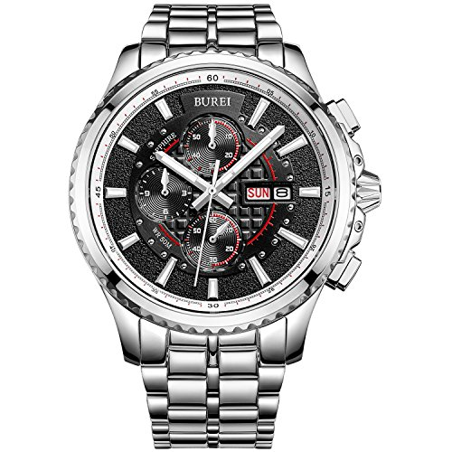 BUREI Herren Armbanduhr Chronograph Analog Quarz Schwarz Zifferblatt Silber Armband Wasserdicht Uhr