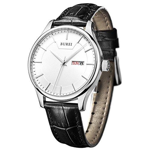 BUREI Herren Quarz Armbanduhr Tages und Datumsanzeige Lederband schwarz
