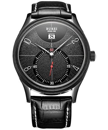 BUREI Herren Quarz Armbanduhr Lederband schwarz Kroko Praegung