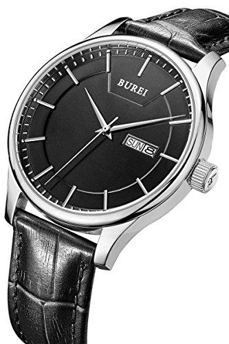 BUREI Herren Tag und Datum Kalender Armbanduhr Praezise Schwarz mit schwarzem Lederband