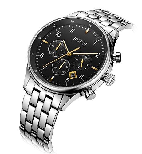 BUREI Herren Datum Kalender kratzfestes Saphir Objektiv Chronograph Big Face Multifunktions Uhr Armbanduhr