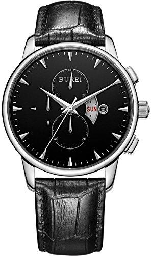 BUREI Herren Tag und Datum Kalender kratzfestes Saphirglas Objektiv Chronograph Multifunktions Uhr mit schwarzem Lederband