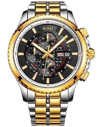 Burei Herren Luminous Tag und Datum Chronograph mit zweifarbigen Armband Gold Luenette Schwarz Zifferblatt