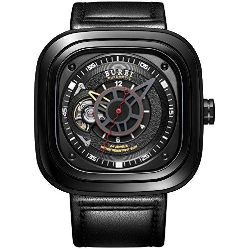 Burei Mechanische Modul nh38 Modisch Handgelenk Wasserdicht Anstaendig Armbanduhr mit Klassische echtes Leder Gurt umfassende Stahl und elegante sapphire made Glas silber schwarz Fall