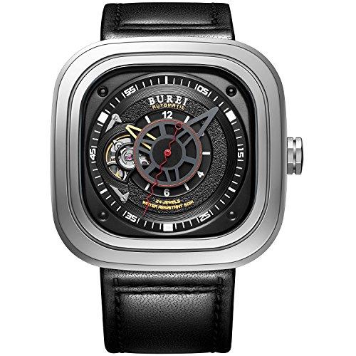 Burei Mechanische Modul nh38 Modisch Handgelenk Wasserdicht Anstaendig Armbanduhr mit Klassische echtes Leder Gurt umfassende Stahl und elegante sapphire made Glas schwarz silber Fall