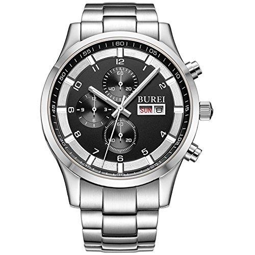 Burei Herren Tag und Datum Multifunktions Chronograph Handgelenk Uhren mit schwarzem Zifferblatt Metall Band