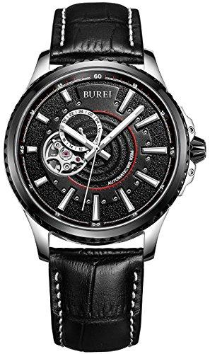 Burei Revolution Analog 24 Stunde Display Japanische Automatische Armbanduhr Armbanduhr mit schwarz Kalbsleder Leder Gurt