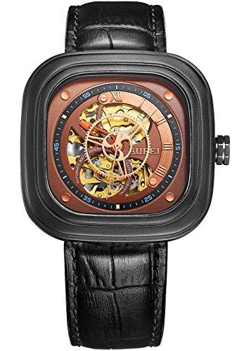 Burei Revolution Analog Display MULTILAYER Zifferblatt schwarz Fall Automatische Skelett Armbanduhr Armbanduhr mit Rindsleder Leder Gurt