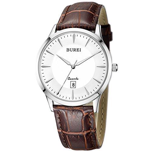 BUREI Herren Saphirglas Objektiv Datum Kalender Armbanduhr mit Braun Leder Armband