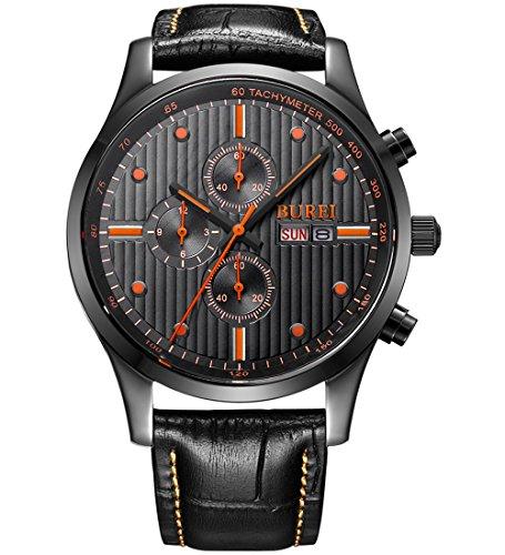 BUREI Herren Sapphire Objektiv Tag und Datum Kalender Chronograph Precise Quarz Uhr Armbanduhr mit Edelstahl Band