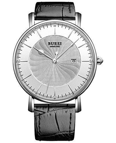 Burei Unisex superduenn Big Face Quartz Armbanduhr mit schwarz weiss Kalbsleder Band Spirale Maserung Zifferblatt