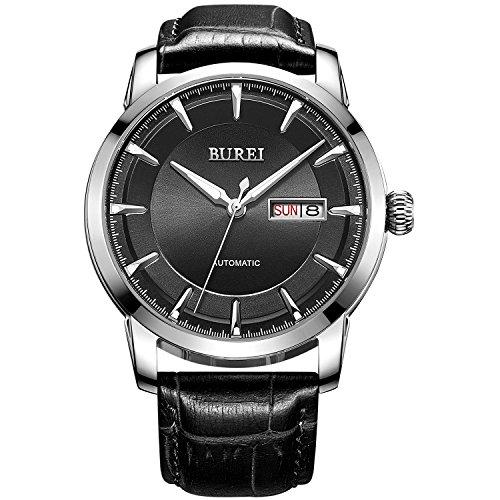 BUREI Datum und Tagesanzeige Business Uhr Schwarz Lederarmband Wasserdicht Uhr Leuchtzeiger Armbanduhr
