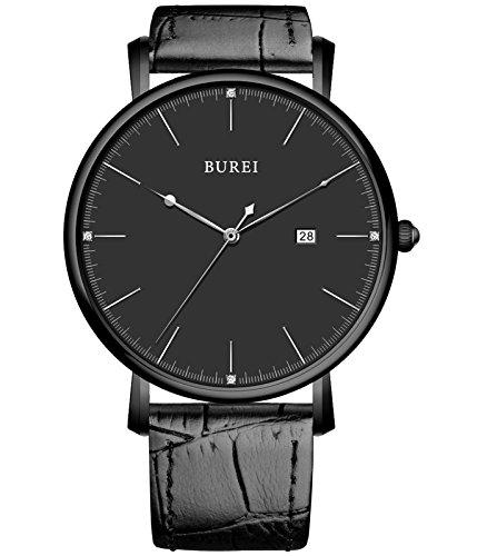 BUREI Unisex Ultraduennes Elegant Datum Quarz Armbanduhr mit schwarzen Kalbslederarmband Band Schwarzes Ziffernblatt