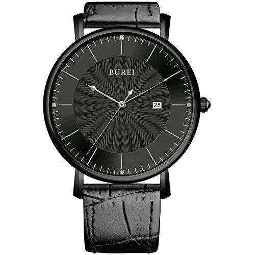 BUREI Unisex Ultraduennes Grosses Ziffernblatt Quarz Uhr mit schwarzem Kalbslederarmband schwarzes Drehwuchs Ziffernblatt