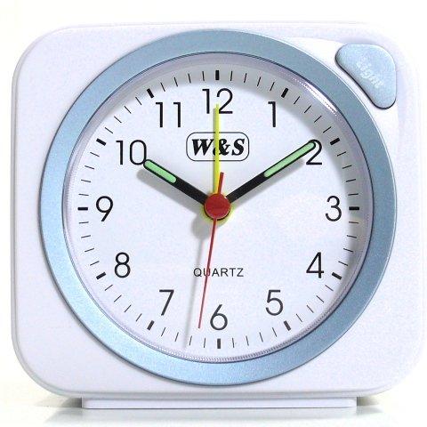 W S 030409 Wecker Uhr weiss blau Analog Licht Alarm
