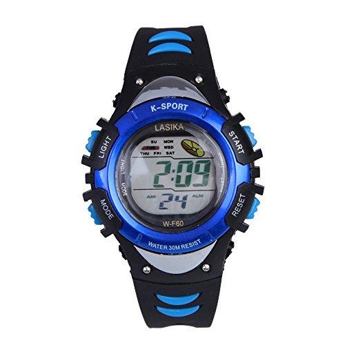 Kinder Armbanduhr Lasika Kinder Schwimmen Sport Digital Armbanduhr W F60 30M wasserdichte Alarm schwarz blau