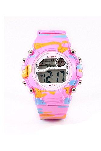 Kinder Armbanduhr Lasika Kinder Jungen Tarnung Schwimmen Sport Digital Armbanduhr Wasserdicht Tarnung rosa