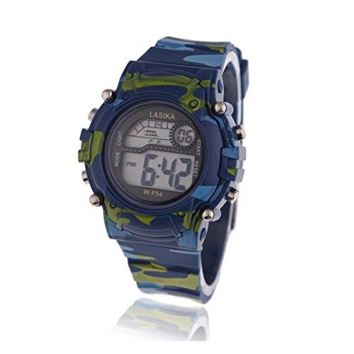 Kinder Armbanduhr Lasika Kinder Jungen Tarnung Schwimmen Sport Digital Armbanduhr Wasserdicht Tarnung blau