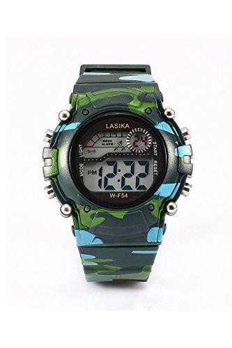 Kinder Armbanduhr Lasika Kinder Jungen Tarnung Schwimmen Sport Digital Armbanduhr Wasserdicht Tarnung gruen