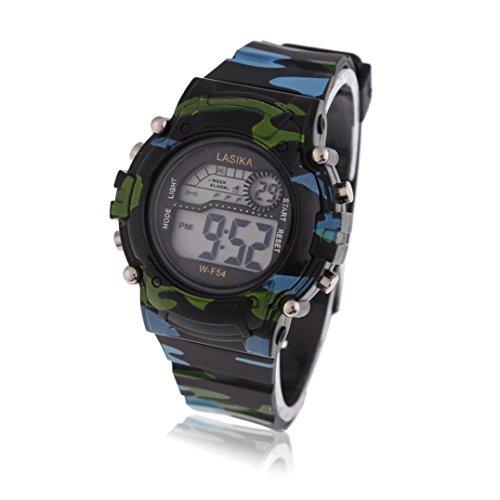 Kinder Armbanduhr Lasika Kinder Jungen Tarnung Schwimmen Sport Digital Armbanduhr Wasserdicht Tarnung Schwarz