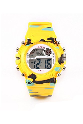 Kinder Armbanduhr Lasika Kinder Jungen Tarnung Schwimmen Sport Digital Armbanduhr Wasserdicht Tarnung gelb
