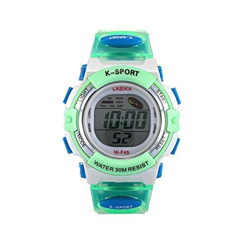 W F45 Armbanduhr Lasika Kinder Schwimmen Sport Digital Armbanduhr W F45 Wasserdicht Einstellbare gruen