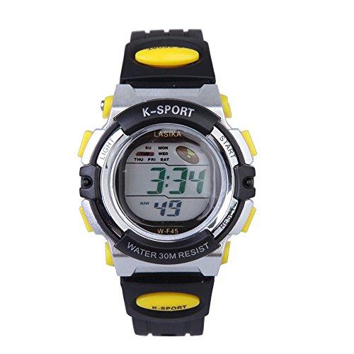 W F45 Armbanduhr Lasika Kinder Schwimmen Sport Digital Armbanduhr W F45 Wasserdicht Einstellbare Schwarz gelb