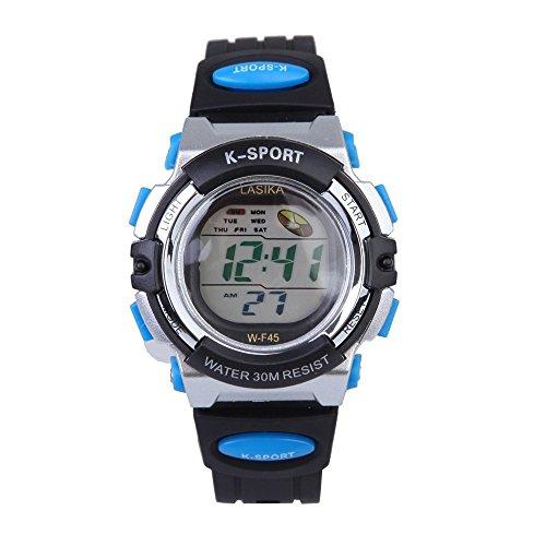 W F45 Armbanduhr Lasika Kinder Schwimmen Sport Digital Armbanduhr W F45 Wasserdicht Einstellbare Schwarz Blau
