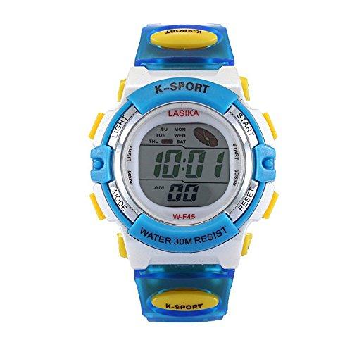 W F45 Armbanduhr Lasika Kinder Schwimmen Sport Digital Armbanduhr W F45 Wasserdicht Einstellbare blau