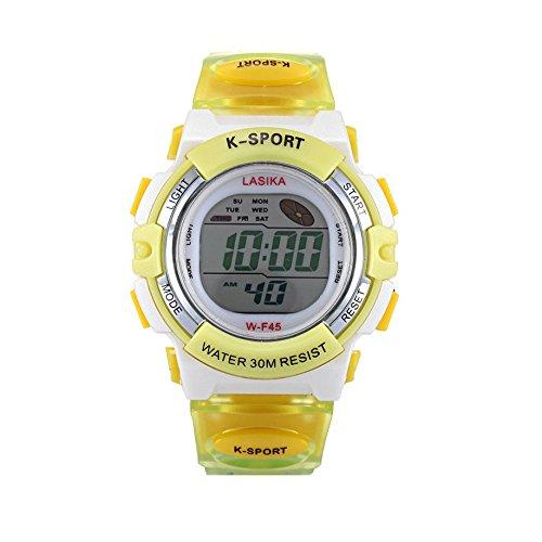 W F45 Armbanduhr Lasika Kinder Schwimmen Sport Digital Armbanduhr W F45 Wasserdicht Einstellbare gelb