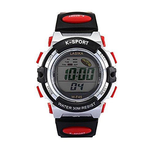 W F45 Armbanduhr Lasika Kinder Schwimmen Sport Digital Armbanduhr W F45 Wasserdicht Einstellbare Schwarz rot