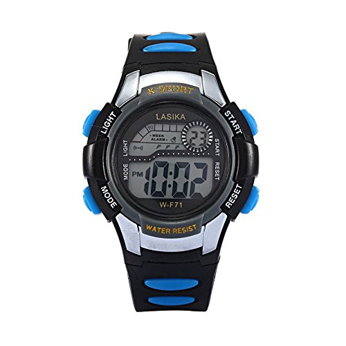 W F71 Armbanduhr Lasika Kind Kind Schwimmen Sport Digital Armbanduhr w F71 30M wasserdichte schwarz blau