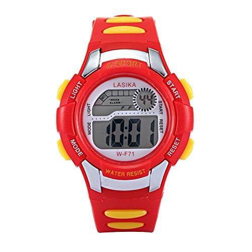 W F71 Armbanduhr Lasika Kind Kind Schwimmen Sport Digital Armbanduhr w F71 30M wasserdichte rot