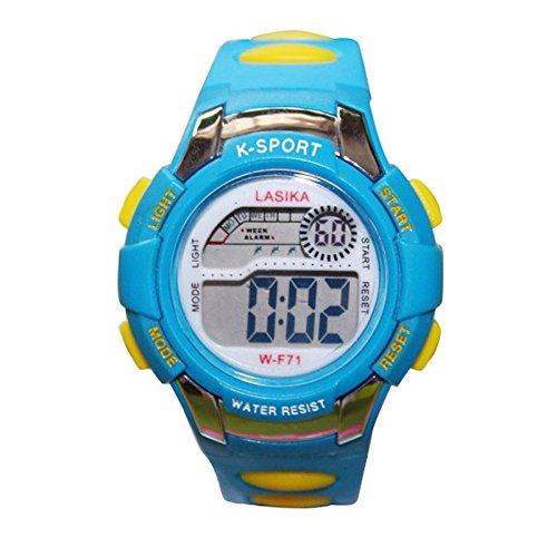 W F71 Armbanduhr Lasika Kind Kind Schwimmen Sport Digital Armbanduhr w F71 30M wasserdichte blau gelb