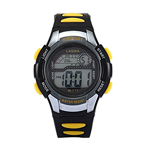 W F71 Armbanduhr Lasika Kind Kind Schwimmen Sport Digital Armbanduhr w F71 30M wasserdichte schwarz gelb