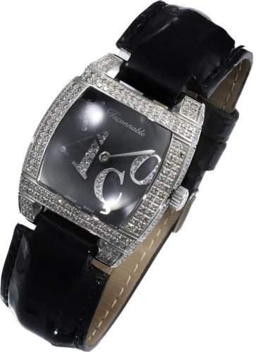 Faconnable Damenarmbanduhr Dôme Diamonds Full black 170010500