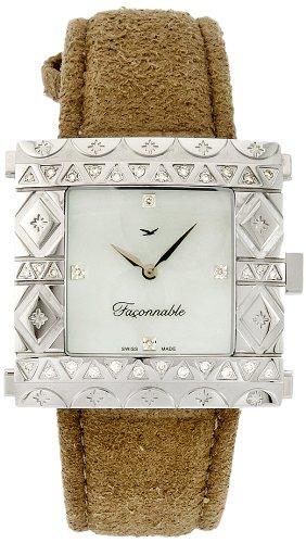 Faconnable fgzs1 Damen Armbanduhr Quarz Analog Armband Leder beige