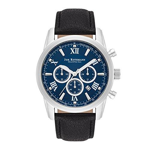 Joh Rothmann Malte Chronograph Edelstahl silber blau Praezisions Quarzwerk 5 ATM Lederarmband schwarz Chronograph mit Stoppuhr Totalisatoren Anzeige