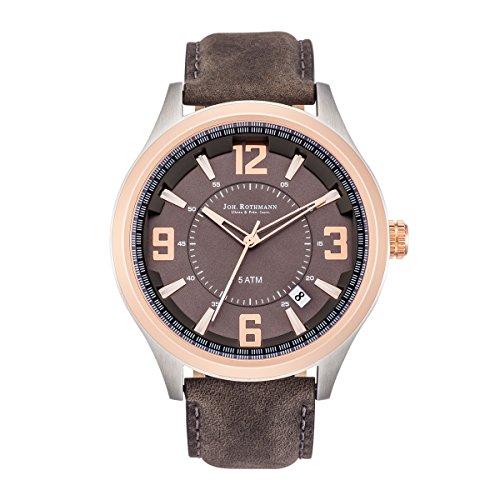 Joh Rothmann Garvin Quarzuhr Edelstahl bi color dunkelgrau 5 ATM Praezisions Quarzwerk Datum Lederarmband grau Echtleder Armband Armband Uhr analog