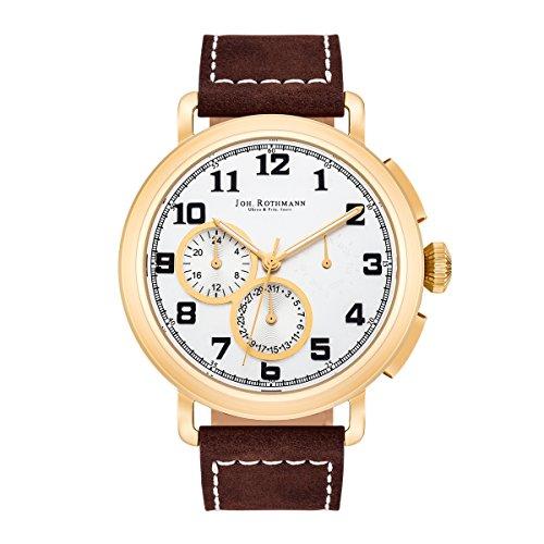 Joh Rothmann Ragnar Multifunktionsuhr Edelstahl gold silber 5 ATM Praezisions Quarzwerk Datum Lederarmband braun Quarzuhr Echtleder Armband Armband Uhr analog gelbvergoldet