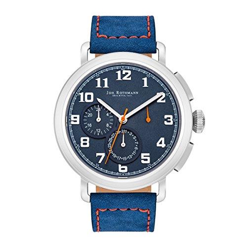 Joh Rothmann Ragnar Herrenuhr Multifunktionsuhr Edelstahl silber blau 5 ATM Praezisions Quarzwerk Datum Lederarmband blau Quarzuhr Echtleder Armband Armband Uhr analog