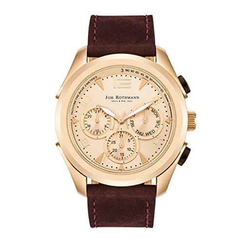 Joh Rothmann Max Multifunktionsuhr Edelstahl gold gold 5 ATM Praezisions Quarzwerk Datum Lederarmband braun Quarzuhr Echtleder Armband Armband Uhr analog