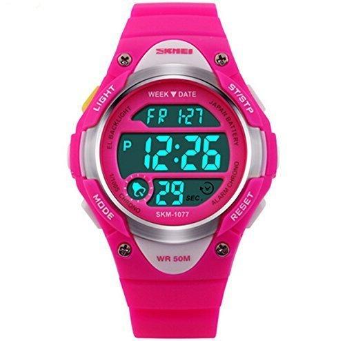 misskt Outdoor Sports Kids Jungen Maedchen LED Digital Alarm Stoppuhr Wasserdicht Armbanduhr Kinder Kleid Uhren Rose rot