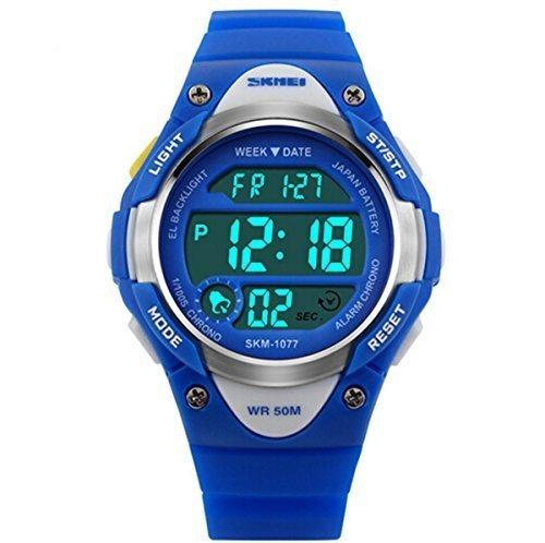 misskt Outdoor Sports Kids Jungen Maedchen LED Digital Alarm Stoppuhr Wasserdicht Armbanduhr Kinder Kleid Uhren blau