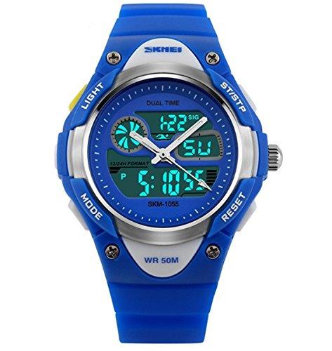 misskt Outdoor Sports Kids Jungen Maedchen LED Digital Alarm 2 Zeitzonen Stoppuhr Wasserdicht Kinder Kleid Uhren blau