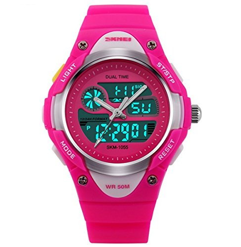 misskt Outdoor Sports Kids Jungen Maedchen LED Digital Alarm 2 Zeitzonen Stoppuhr Wasserdicht Kinder Kleid Uhren rot Rose